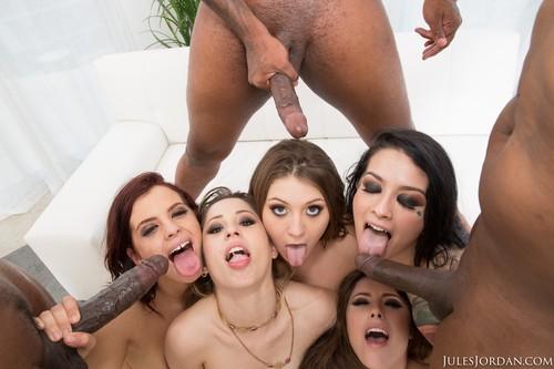 Interracial orgy black facials